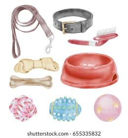 Watercolor Pets Accessories Set