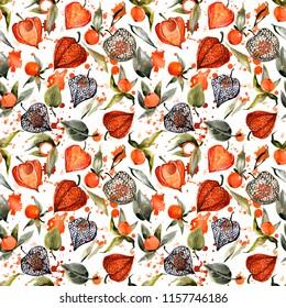watercolor physalis seamless pattern. autumn berry illustration. botanical background.