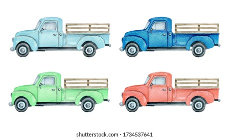 Watercolor pickup truck illustration isolated on white background. Light blue, blue, red and green farm truck pickup truck set.