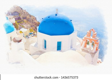 Watercolor picture of Beautiful landscape view of Santorini famous Island at greece