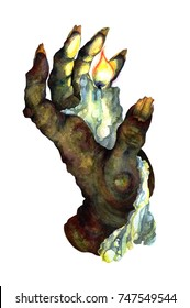 Watercolor Picture of Hand Of Glory: Creepy Rotten Hand with Burning White Candle isolated on white