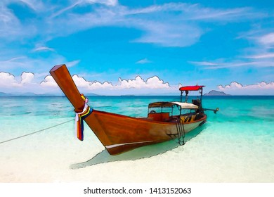 Watercolor picture of Long tail boat at beautiful beach