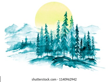 Watercolor picture of mountains, forest with pine trees, fir, cedar. Abstract vintage spots of blue,green.On a white background. Postcard, picture, poster, logo. Country forest landscape. Yellow sun.