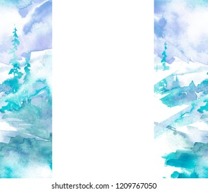 Watercolor picture of mountains, forest with pine trees, fir, cedar. Abstract vintage spots of blue. On a white background. Postcard, picture, poster, logo. Abstract blue paint splash.