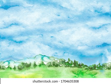 Watercolor picture of mountains, forest with pine trees, fir, cedar. Abstract spots of green. On a white background. Postcard, picture, poster, logo. Country forest landscape, pasture.Blue sky, clouds
