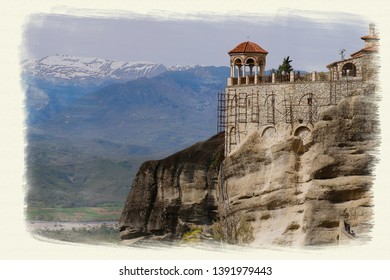 Watercolor picture of Panoramic city view of Kalambaka Meteora at Greece heritage world site of world