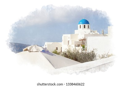 Watercolor picture view Santorini or oia at greece.