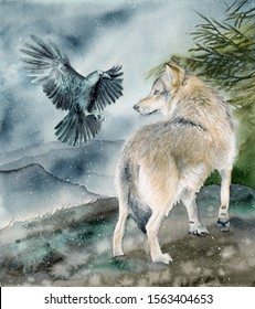 Watercolor picture of a wolf  and a raven on a hill under  falling snow with distant mountains on the background