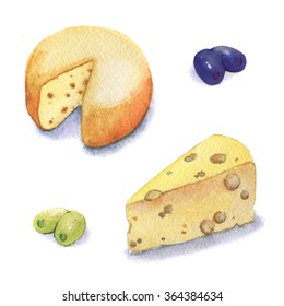 Watercolor piece of cottage cheese illustrations. Hand drawn object isolated on white.