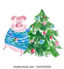 Watercolor Pig in sweater and Christmas tree. 2019 Chinese New Year of the Pig. Christmas greeting card