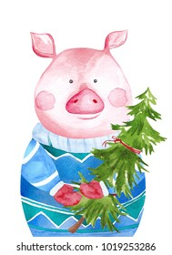 Watercolor Pig in sweater holding Christmas tree. 2019 Chinese New Year of the Pig. Christmas greeting card