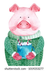 Watercolor Pig in sweater holding cup of cocoa. 2019 Chinese New Year of the Pig. Christmas greeting card