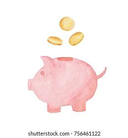 Watercolor piggy bank illustration. Money concept. Illustration for design, print or background.