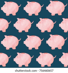 Watercolor piggy bank pattern. Money concept. Illustration for design, print or background.