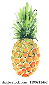 Watercolor pineapple clipart illustration
