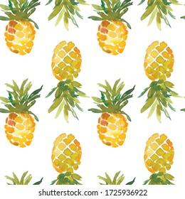 Watercolor pineapple seamless pattern on white background. Seamless pattern.