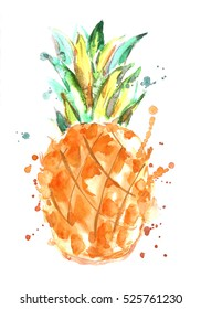 Watercolor pineapple with splashes