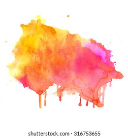 Watercolor pink background. Hand drawn Painting. Colorful illustration.