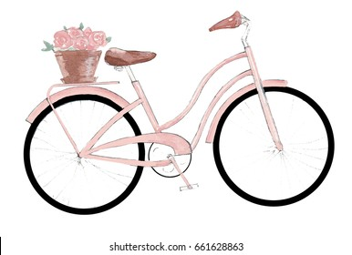 Watercolor pink bicycle
