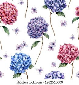 Watercolor pink and blue hydrangea seamless pattern. Hand painted blue, violet, pink flowers with leaves and branch isolated on white background.  Nature botanical illustration for design, print.