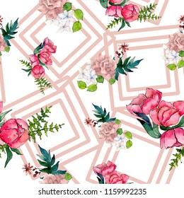 Watercolor pink bouquet flower. Floral botanical flower. Seamless background pattern. Full name of the plant: rose, peony. Aquarelle wildflower for background, texture, wrapper pattern.