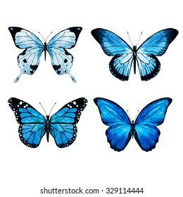 watercolor pink butterflies, isolated objects, tropical Butterflies