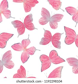 Watercolor pink butterfly seamless pattern hand drawn texture