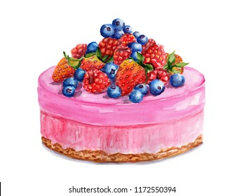 Watercolor pink cake with berries. Illustration isolated on a white background. For greeting postcard, poster for cafe and pastry shop. Pie with raspberries, strawberry, currant, blueberries.