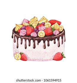 Watercolor pink cake with strawberries, chocolate, marshmallows, cream, lemon and grapes. Hand drawn illustration isolated on a white background.