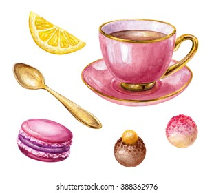 watercolor pink cup of tea, lemon, macaroon biscuit, truffle, gold spoon, meringue, illustration isolated on white background
