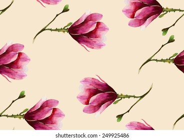 Watercolor pink cyclamen on ivory background pattern