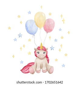 Watercolor pink fairy unicorn illustration. Clip art for baby nursery decoration, birthday parties