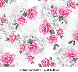 watercolor pink flower  pattern