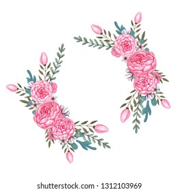 Watercolor pink flowers Floral Wreath Peony Flowers Isolated Clipart