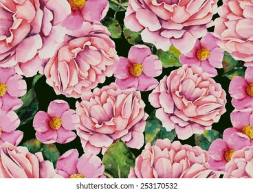 Watercolor pink flowers pattern on dark green background