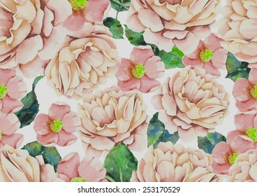 Watercolor pink flowers vintage pattern on white background