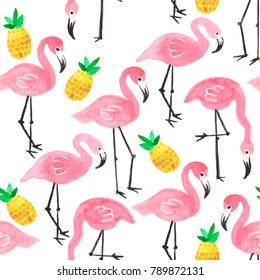 Watercolor pink ink flamingo and yellow pineapple tropical pattern set isolated on white background