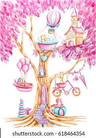 Watercolor pink magic tree with bed, door, toys, bicycle, giraffes, umbrella, ball, castle, heart, balloons, cat. Hand drawn colorful illustration with cartoon characters on white background.