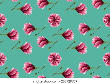 Watercolor pink magnolia flowers pattern on a turqouise blue background