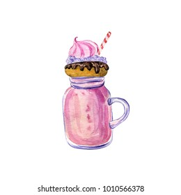 watercolor pink milkshake with donut, hand drawn illustration