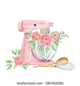 Watercolor pink mixer for creating diy bakery logo. High quality hand painted illustration
