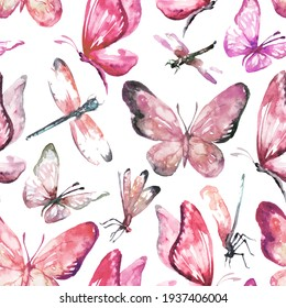Watercolor pink pattern of butterfly