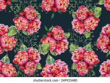 Watercolor pink peonies on dark blue background pattern