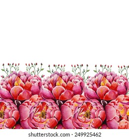 Watercolor pink peonies and red roses card