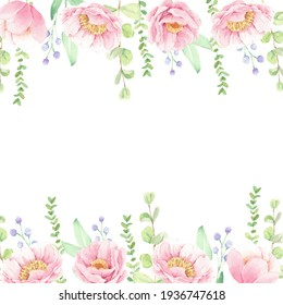 watercolor pink peony flower bouquet square banner background