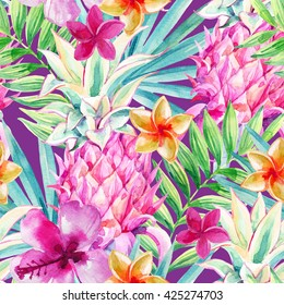Watercolor pink pineapple fruit seamless pattern. Decorative pineapple with palm leaves and exotic flowers on vivid background. Ornamental garden plants. Hand painted illustration in bright color