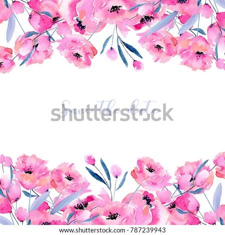 Illustrazione Stock A Tema Watercolor Pink Poppies Floral Branches