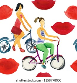Watercolor pink print kiss lip and girls riding a bikes, mark lipstick pattern seamless illustration watercolor background. valentines day. art lips repeat makeup romantic beauty wallpaper