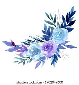 Watercolor pink, purple and purple roses, corner flower arrangement