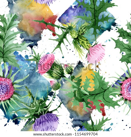 6f0364533 Watercolor pink and purple thistle wildflower. Floral botanical flower.  Seamless background pattern. Fabric